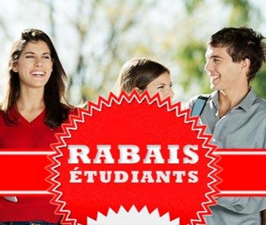 Rabais disponible pour les étudiants